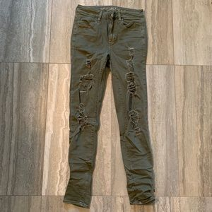 AE olive green ripped jeans
